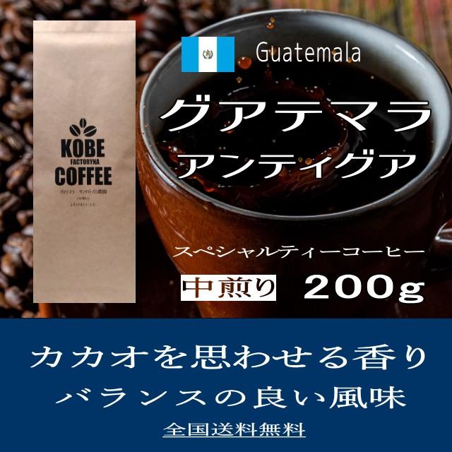 カカオを思わせる風味 グアテマラ アンティグア スペシャルティーコーヒー ザ・シティー 200g 送料無料 コーヒー豆 中煎り 自家焙煎