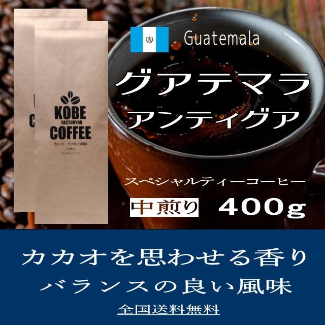 カカオを思わせる風味 グアテマラ アンティグア スペシャルティーコーヒー ザ・シティー 400g 送料無料 コーヒー豆 中煎り 自家焙煎