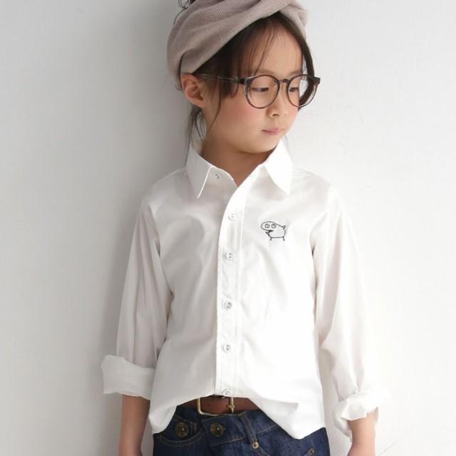 シンプルなシルエット、愛嬌のある変わり種ワッペン。刺繍付きキッズシャツ・(100)メール便可 TOY