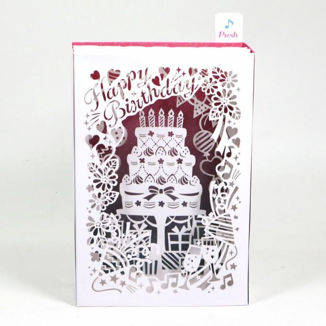 バースデーカード メロディカード レーザーカットケーキ P102 サンリオ 立てて飾れる誕生日カード 立体カード Birthday Card お誕生お祝