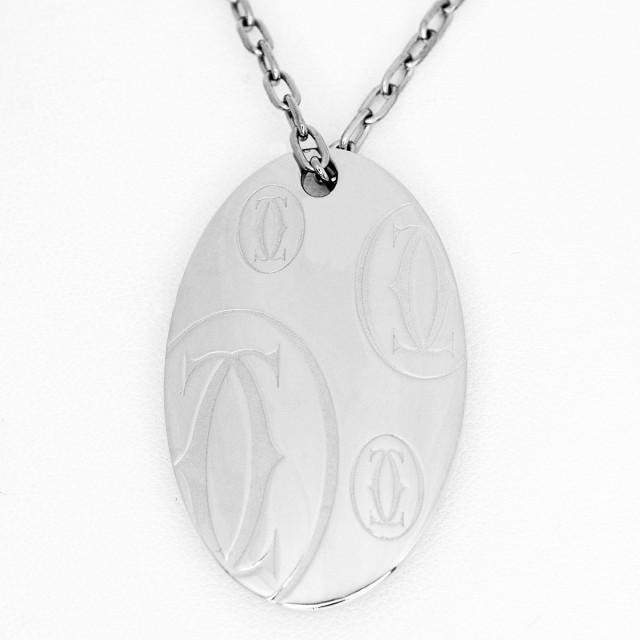Cartier カルティエ 2C ハッピーバースデー オーバル LM ペンダント ネックレス 750 K18 WG ホワイトゴールド【送料無料】ロゴ チェーン