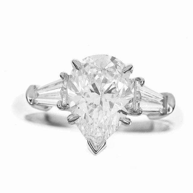 HARRY WINSTON ハリーウィンストン ダイヤモンド(1.51ct D-VS1)ペアシェイプ クラシック リング PT950 プラチナ 日本サイズ約7号 #47 HW