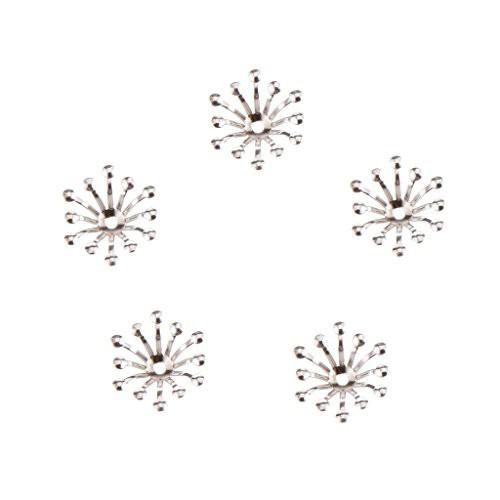 送料無料【ノーブランド品】 100個 13mm ビーズキャップ DIY ジュエリー用 花型 座金 花座 全4色 - ホワイト