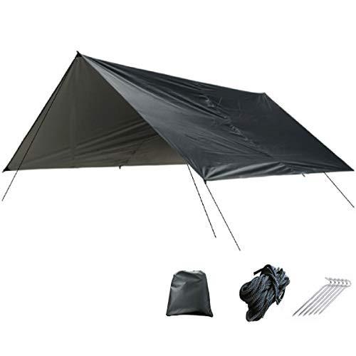 TRIWONDER タープ 防水 天幕シェード タープテント 軽量 サンシェルター グランドシート キャンプ用品(3m*3m)収納袋付 (ブラック)
