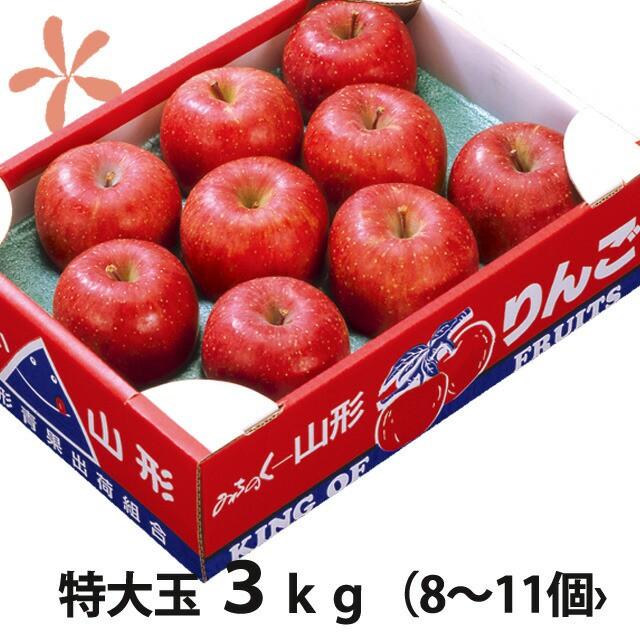 りんご ふじりんご フジリンゴ 送料無料 【 山形 特大玉 ふじりんご 蜜入り 贈答用 3kg 8〜11個入り 丸勘山形 】 ふじ フジ リンゴ 果物