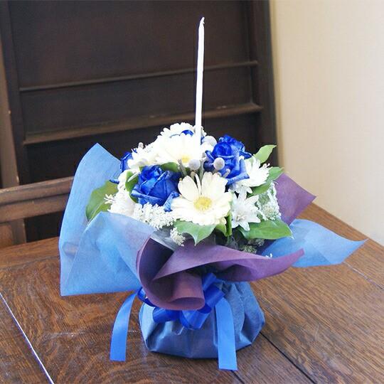 青いバラ ブルーローズ クリスマス 限定 キャンドル付き 花瓶のいらない花束 ホリー・ナイト クリスマスプレゼント ブルーローズ 誕生日