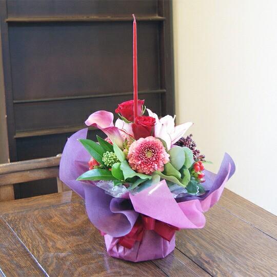 レッド系 赤バラ クリスマス 限定 キャンドル付き 花瓶のいらない花束 ホリー・ナイト クリスマスプレゼント ブルーローズ 誕生日 結婚