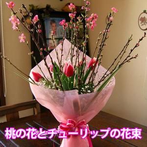 桃の節句 ひな祭り ひなまつり 【 桃の花 チューリップ 花束 3色から選べる 】 桃の花 花桃 チューリップ 誕生日 初節句 雛祭り 飾り