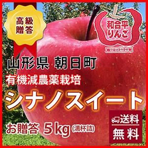 シナノスイート りんご 送料無料 リンゴ 葉取らずりんご 【 贈答用 朝日町 和合平 シナノスイート 5kg 満杯詰め 10月上旬〜20日頃 】 有