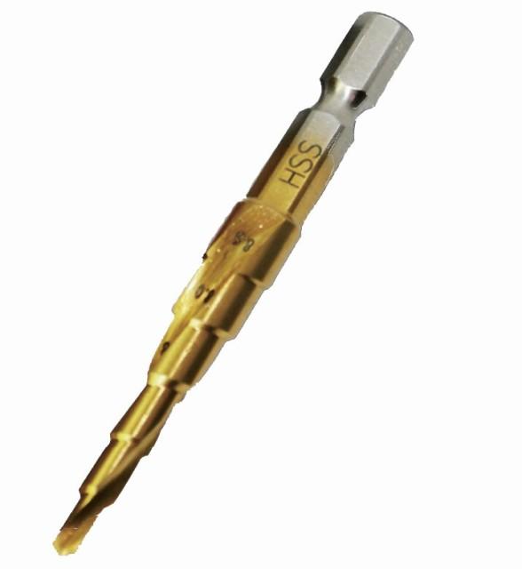 六角軸タップ下穴用ドリル 回転専用 6サイズ対応 下穴 タケノコドリル ステップドリル 長寿命 チタンコーティング ステップビット 薄鉄板