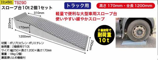 スロープ台10t(2個1セット) TS290 大型車 ジャッキアップ補助 工具 【REX vol.33】代引決済不可