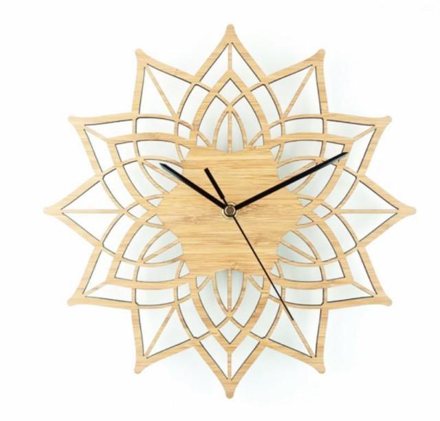 壁掛け時計/花/木製/ウォッチ/時計/ウォールクロック/モダン/インテリア/アート