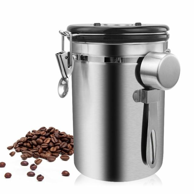 便利♪コーヒー豆 容器 ステンレス鋼 気密 密閉型 スプーン 保存 小麦粉 シュガー ホルダー 缶 収納 瓶 キッチン用品