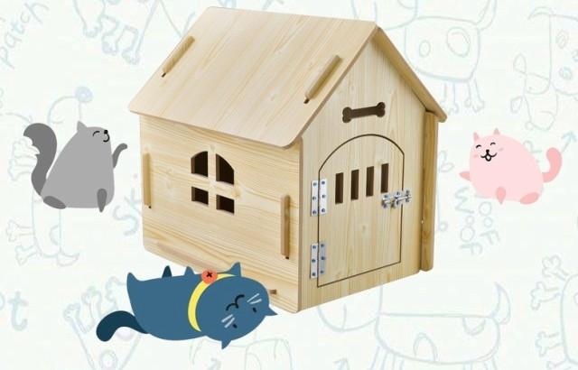 ペット屋 PET HOUSE 犬小屋/猫小屋 DIY組み立て 木製犬舎/猫舎 ドア付き 室内屋外犬舎/猫舎 新品 4色