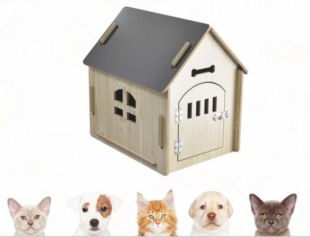 ペットハウス ペットの小屋 PET HOUSE 屋内用 小型ペット対応 ドア付き 防水 DIY組み立て Lサイズ 新作 4色