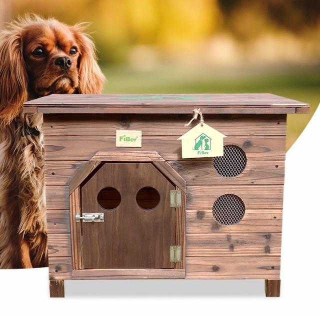 新作 犬舎 炭化木 屋外用 小型犬対応 天然木 平屋根 防水 DIY組み立て Mサイズ