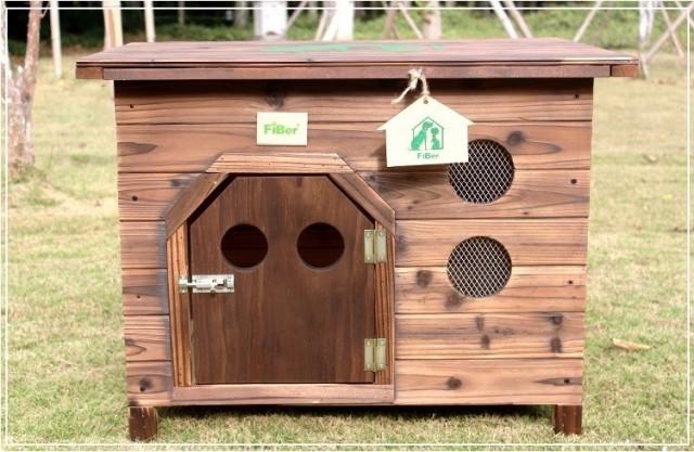 犬舎 DOG HOUSE 屋外用 中型犬対応 炭化木 新作 天然木 平屋根 防水 DIY組み立て Lサイズ