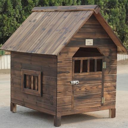 新作 天然木 犬舎 炭化木 DOG HOUSE 屋外用 大型犬対応 防水 DIY組み立て Lサイズ