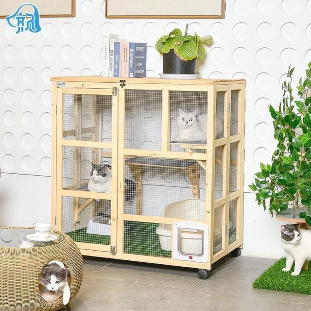 猫 キャットタワー ペット 上下運動でストレス解消キャットケージ3段 ナチュラル(木製)猫ケージ