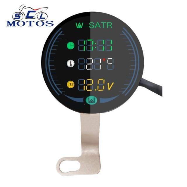 電圧計 時計 気温計バイク用 9-24V 3-in-1 ボルトゲージ Led 電圧計時間温度