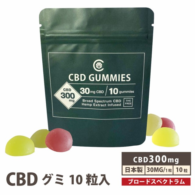 CBD グミ 高濃度 CBD300mg配合 1粒30mg配合 10粒入 cbdグミ CannaTech 国産 国内製造 cbd gummi gumi ブロードスペクトラム CBD オイル C