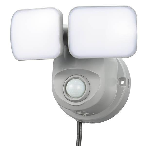 センサーライト 防犯 センサー 照明 オーム LEDセンサーライト 2灯 800lm 昼白色 コンセント式