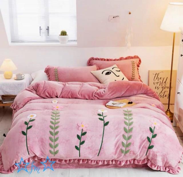 高級ワイドダブル ベッド用品4点セット 寝具 ボックスシーツ 枕カバー掛け布団カバー ベッドカバー