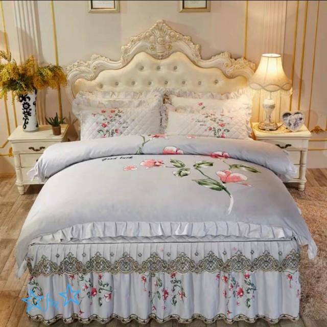 高級ワイドダブル ベッド用品4点セット .寝具 ボックスシーツ 枕カバー掛け布団カバー ベッドカバー