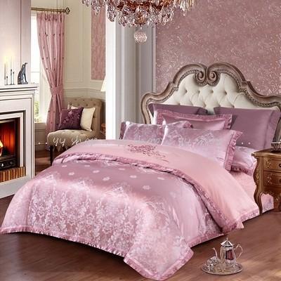 1120BS2-7新品 高級ワイドダブル ベッド用品4点セット 寝具 ボックスシーツ 枕カバー掛け布団カバー ベッドカバー.ピンク