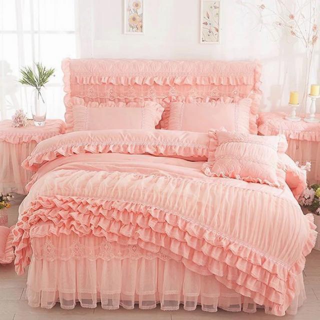 ベッド用品4点セット.掛け布団カバー 枕カバー ベッドパッド ワイドダブルサイズ