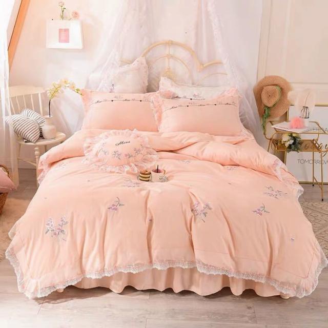 ベッド用品4点セット掛け布団カバー 枕カバー ベッドパッド ワイドダブルサイズ