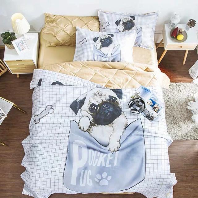 ベッド用品3点セット掛け布団カバー 枕カバーワイドダブルサイズ パグ雑貨
