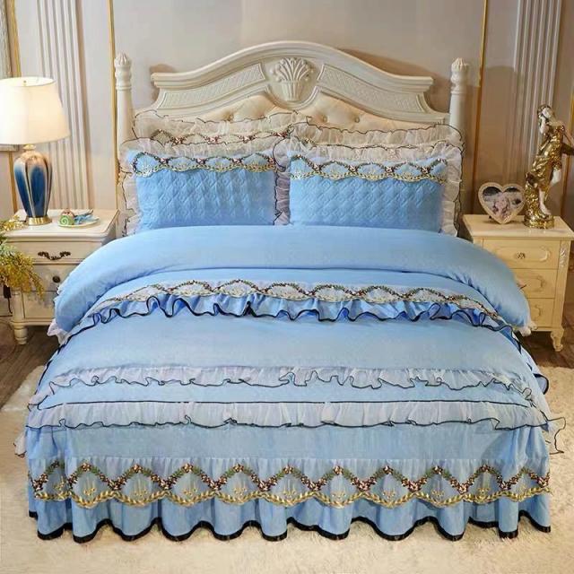 高級感ベッド用品4点セット掛け布団カバー 枕カバー ベッドパッド ワイドダブルサイズ