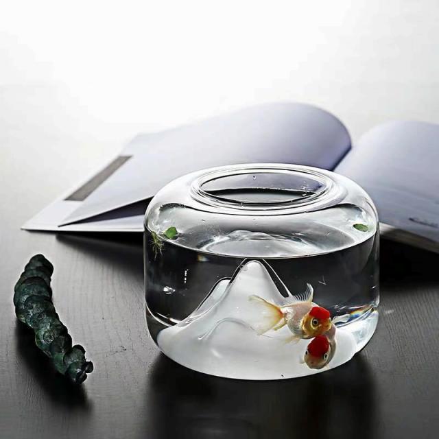 金魚鉢 ガラス鉢 メダカ 小魚 ポット 雪山 おしゃれ
