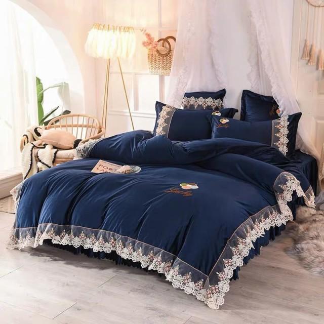 ワイドダブル ベッド用品4点セット 寝具 ボックスシーツ 枕カバー掛け布団カバー ベッドパッド 別サイズあり