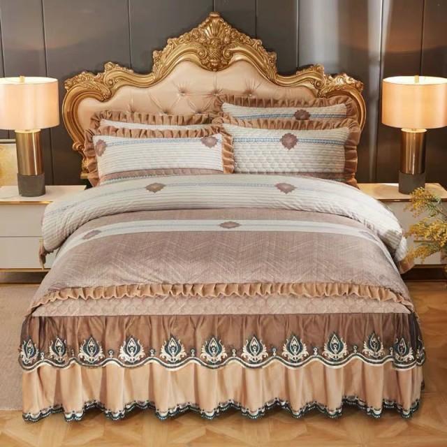 珊瑚絨ワイドダブル ベッド用品4点セット 寝具 ボックスシーツ 枕カバー掛け布団カバー ベッドパッド 別サイズあり