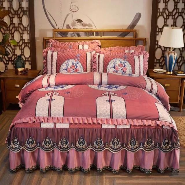 珊瑚絨ワイドダブル ベッド用品4点セット .寝具 ボックスシーツ 枕カバー掛け布団カバー ベッドパッド 別サイズあり