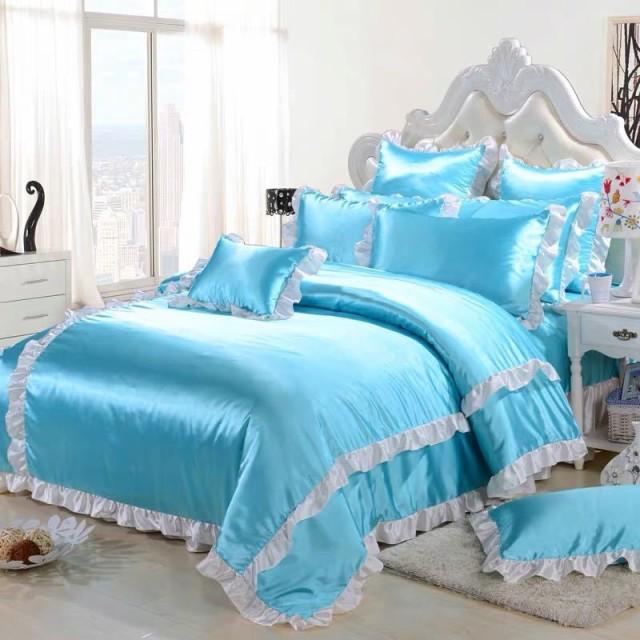 ワイドダブル ベッド用品4点セット .寝具 ボックスシーツ 枕カバー掛け布団カバー ベッドカバー
