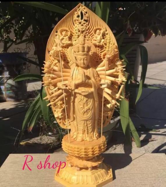 供奉品仏像 手作り 千手観音菩薩 大型仏像 43cm 木彫り 桧木 観世音菩薩 観自在菩薩 置き物彫刻工芸品 神様