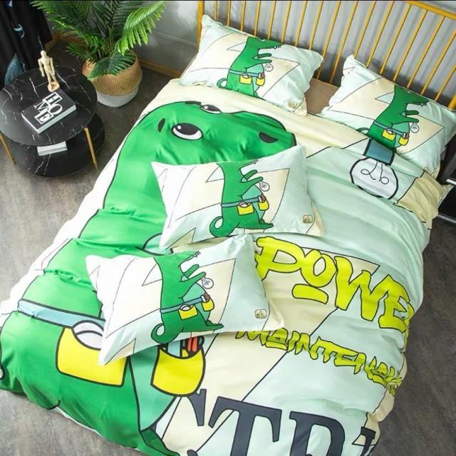 ワイドダブル ベッド用品4点セット 寝具 ボックスシーツ 枕カバー掛け布団カバー ベッドカバー 恐竜柄