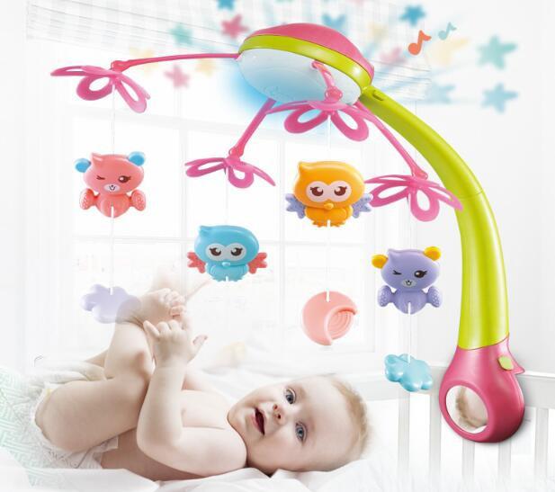 ベッドメリー メリー 赤ちゃん ベッドおもちゃ メリー ベッドオルゴール モビール 4WAY 回転 音楽 投影 リモコン付