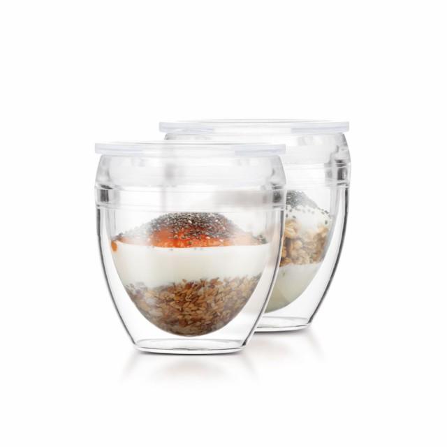 ボダム bodum パヴィーナ トゥーゴー ダブルウォールタンブラー 250ml 2個セット 蓋付き ペアセット プラスチック グラス コップ