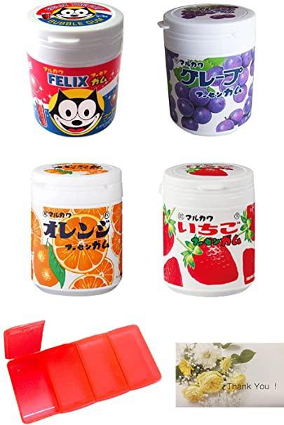 マルカワ ガム マーブルガム 4種ボトルセット (コーラ・グレープ・オレンジ・いちご) 【持ち運び用ガム・サプリケーズ付き】