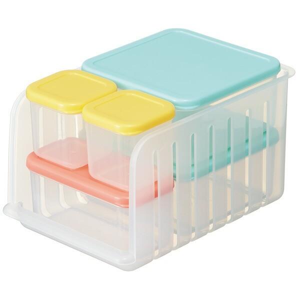 スケーター 冷凍 冷蔵 保存容器 5点セット 収納トレー付き ノルディコット CCBS2N 1.37L G/Y/OR