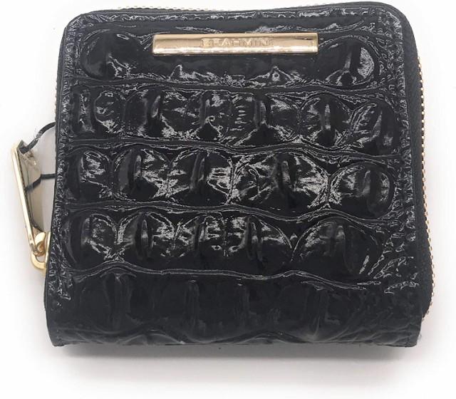 バラモンミニスリクロコEMBレザージップ財布ブラックメルボルン