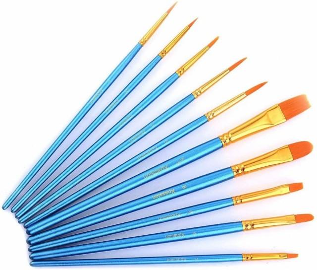 【お昼12時までの注文で当日発送!】 画材筆 ペイント ブラシ アクリル筆 水彩筆 油絵筆 丸筆 平型筆 短毛筆 10本セット アート 絵の具