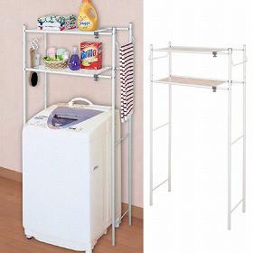 ランドリーラック タオル掛け付き 洗濯機棚 棚板2段 伸縮式 ( ランドリー収納 洗濯機 ラック サニタリーラック )