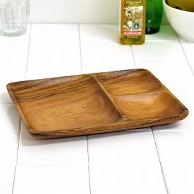 アカシア プレート ウッドプレート 三つ仕切り 角長 木製 食器 ( お皿 角型 ランチプレート モーニングプレート カフェプレート