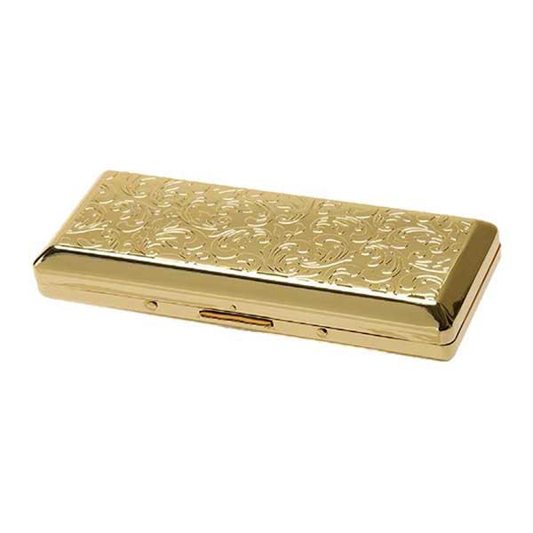 シガレットケース カジュアルメタルゴールドアラベスク 10本収納 100mm ロング用 1-96129-41 メール便可