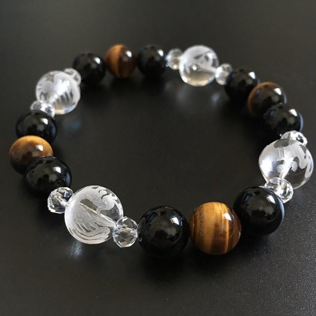 ブレスレット メンズ 最高品質 天然石 パワーストーン 数珠 おまけ付 さざれ水晶 50g付 男性用 ランキングNO.1獲得 四神獣 誕生日プレゼ